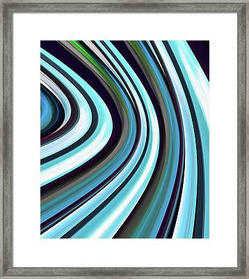 Framed Print featuring the digital art Running Blue by Wendy J St Christopher