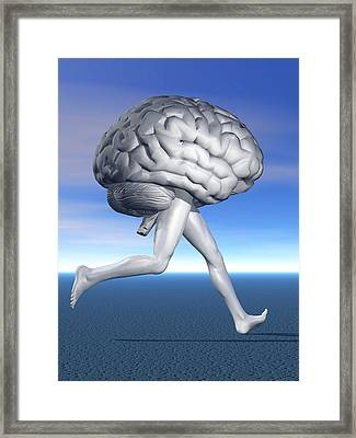 Running Brain, Conceptual Artwork Framed Print