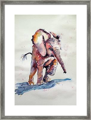 Running Elephant Baby Framed Print by Kovacs Anna Brigitta