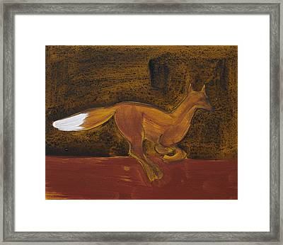 Running Fox In Iron Oxide And Lime Framed Print by Sophy White