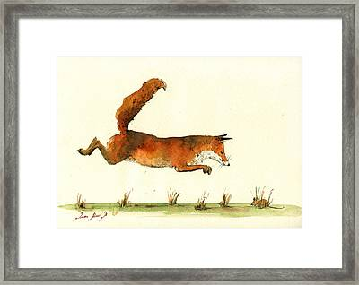 Running Fox Framed Print by Juan  Bosco