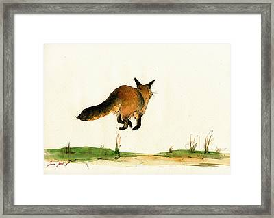 Running Fox Painting Framed Print by Juan  Bosco