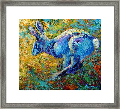 Running Hare Framed Print by Marion Rose