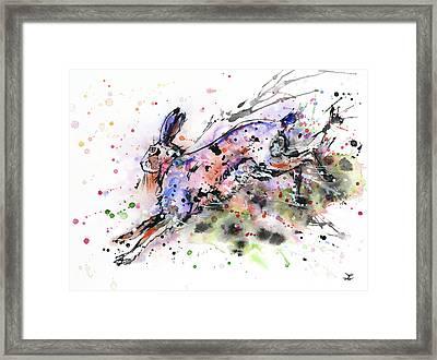 Running Hare Framed Print by Zaira Dzhaubaeva