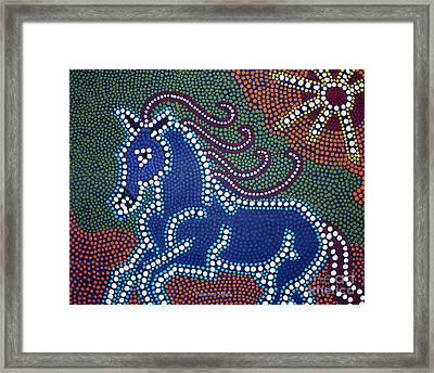 Running Horse - Dot Painting By Valentina Miletic Framed Print by Valentina Miletic