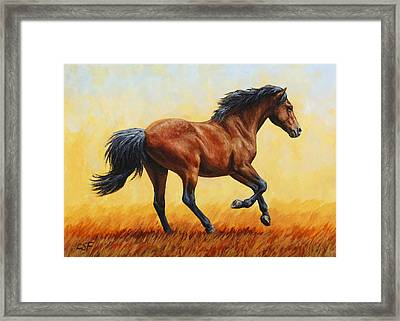 Running Horse - Evening Fire Framed Print by Crista Forest