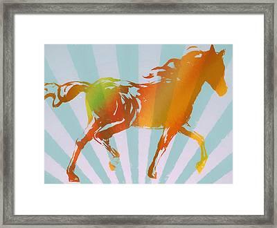 Running Horse Pop Art Framed Print