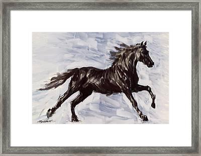 Running Horse Framed Print by Richard De Wolfe