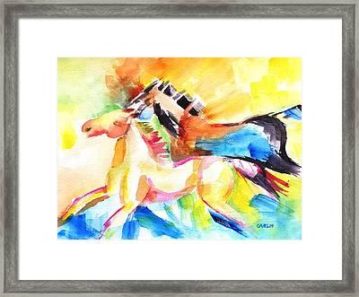 Running Horses Color Framed Print