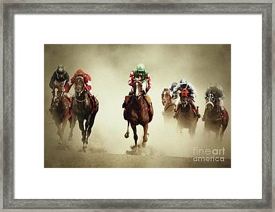 Running Horses In Dust Framed Print