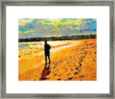 Framed Print featuring the painting Running In The Golden Light by Angela Treat Lyon