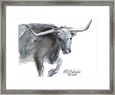 Running Texas Longhorn Watercolor Painting By Kmcelwaine Framed Print