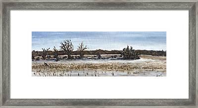 Running Man In Bare Fields Framed Print