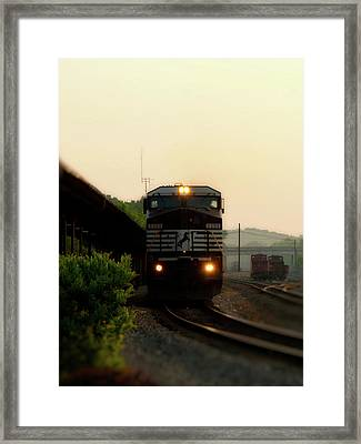 Running On Schedule Framed Print by Denise Beverly