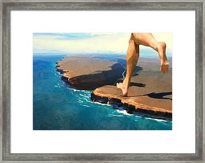 Running On The Edge Framed Print