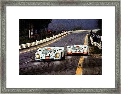 Running One Two Framed Print by Peter Chilelli