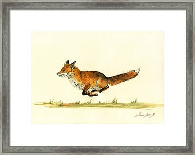 Running Red Fox Framed Print