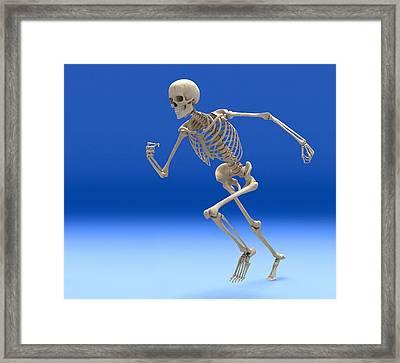 Running Skeleton, Artwork Framed Print by Roger Harris