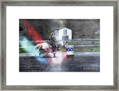 Running The Barrel  Framed Print by Steven Digman