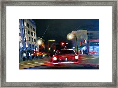 Running The Red Light Framed Print by Victoria Heryet