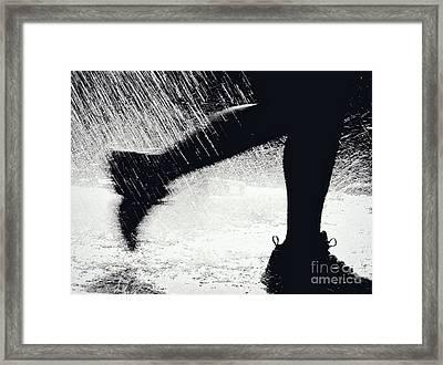 Running Through The Spray  Framed Print by Kathleen K Parker