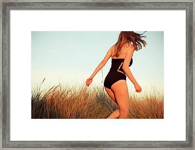 Running Unsharp In The Golden Hour Framed Print