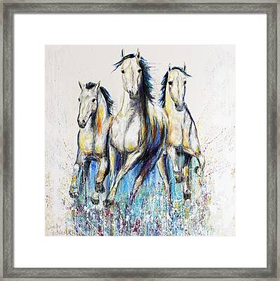Running With The Herd Horse Painting Framed Print