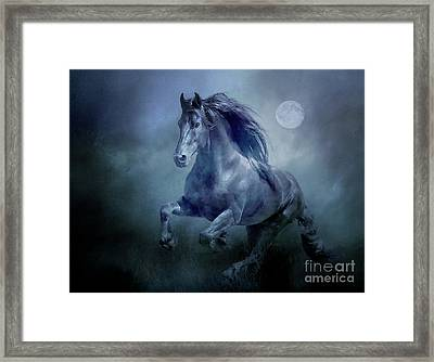 Running With The Moon Framed Print