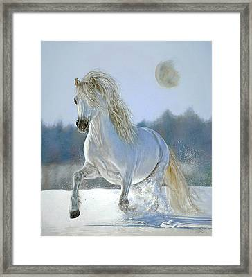 Running With The Moon Framed Print by Terry Kirkland Cook