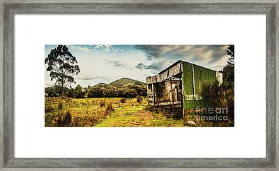 Rustic Abandoned Shed In Old Rural Countryside Framed Print