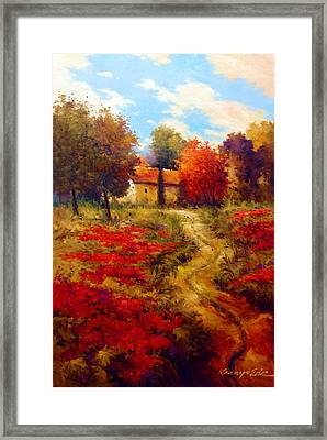 Rural Cotone 2 - Italian Village Painting Framed Print by Kanayo Ede