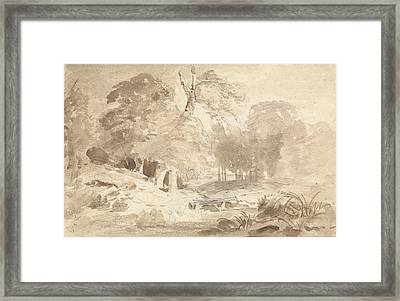 Rural Landscape In The Mark Brandenburg Framed Print by Carl Blechen