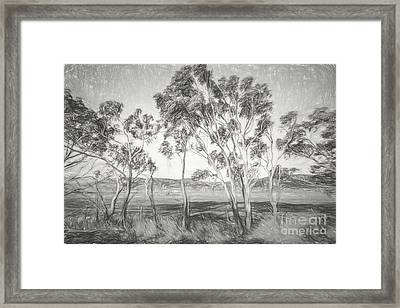 Rural Landscape Pencil Sketch Framed Print by Jorgo Photography - Wall Art Gallery