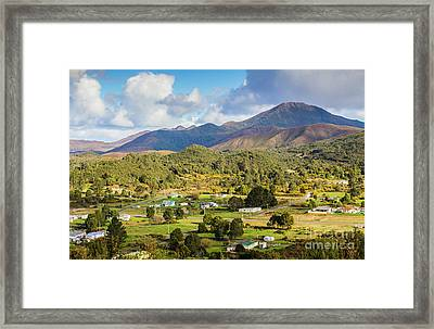 Rural Landscape With Mountains And Valley Village Framed Print by Jorgo Photography - Wall Art Gallery