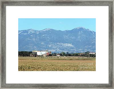 Rural Landscape With Silos Framed Print