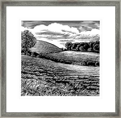 Rural Landscape, Woodcut Framed Print by Gary Hincks