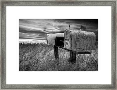 Rural Mailboxes In Black And White On The Prairie Framed Print by Randall Nyhof
