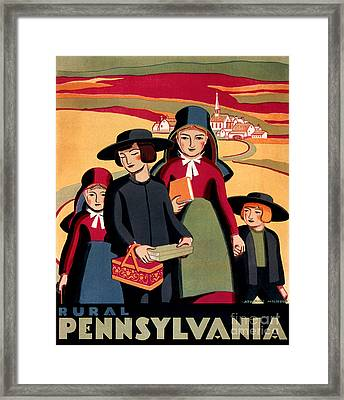 Rural Pennsylvania 1938, Amish Children On A Way To School Framed Print by Zalman Latzkovich