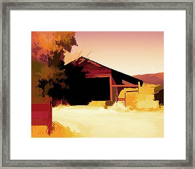Rural Pop No 1 Hay Shed And Tree Framed Print
