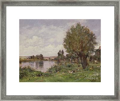 Rural River Scene, 1875 Framed Print