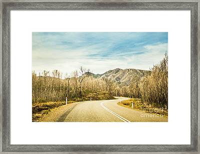 Rural Road To Australian Mountains Framed Print by Jorgo Photography - Wall Art Gallery
