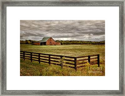 Rural Tennessee Red Barn Framed Print by Cheryl Davis