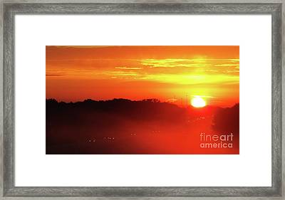 Rush Hour Begins At Sunrise I 94 To Madison Wisconsin Framed Print