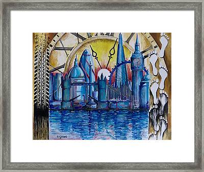 Framed Print featuring the painting Rush Hour In London by Geni Gorani