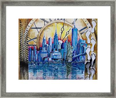Framed Print featuring the painting Rush Hour In New York  by Geni Gorani