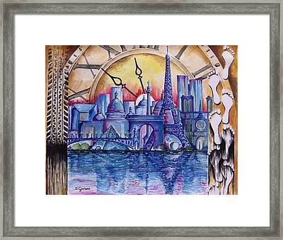 Framed Print featuring the painting Rush Hour In Paris by Geni Gorani