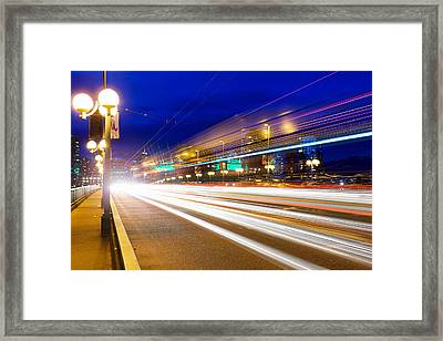 Rush Hour Light Trails On Cambie Bridge Framed Print
