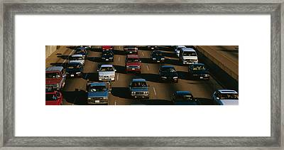 Rush Hour Traffic On Los Angeles Freeway Framed Print by Panoramic Images