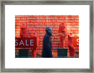 Rushing Away From The Sales Framed Print by Jez C Self