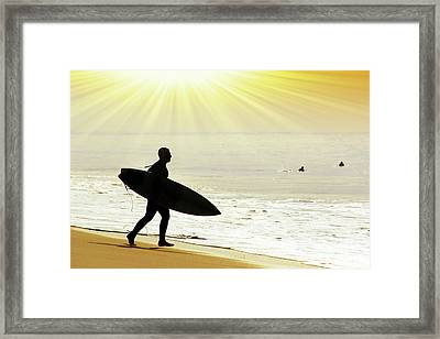 Rushing Surfer Framed Print